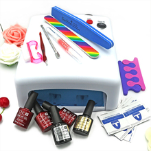KCE set  36W UV lamp 7 of Resurrection nail tools and portable package five 10 ml soaked UV glue gel nail polish se 220 V