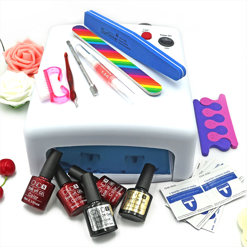 KCE set  36W UV lamp 7 of Resurrection nail tools and portable package five 10 ml soaked UV glue gel nail polish se 220 V<br><br>Aliexpress