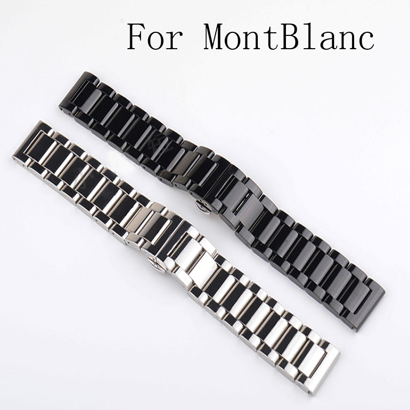 Luxury Brand,18MM 20MM 21mm 22MM 24MM Black Silver Mens Full Stainless Steel Watchband Watch Strap For MontBlan cwatch With LOGO<br>