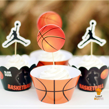 24pcs Kids birthday Party Decoration Cupcake Wrappers Favors Basketball Jordan Kobe Stephen Curry Cupcake Toppers Picks AW-0024(China)