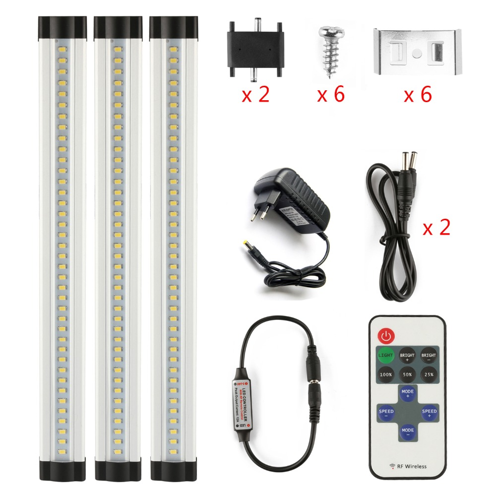 DMXY 3pcs/set smd 2835 IR remote control Dimmable Under Cabinet Light Kitchen Light LED bar light 3*0.3m*33LEDs Hard Rigid Bar<br>