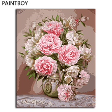 Pink Flower Wall Art Framed Pictures Painting By Numbers Handwork Canvas Oil Painting Home Decor For Living Room GX9683(China)