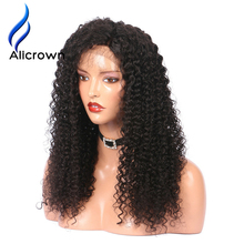 Alicrown 250% Density Kinky Curly Lace Front Human Hair Wigs With Baby Hair Brazilian Remy Hair Lace Wigs Pre Plucked(China)