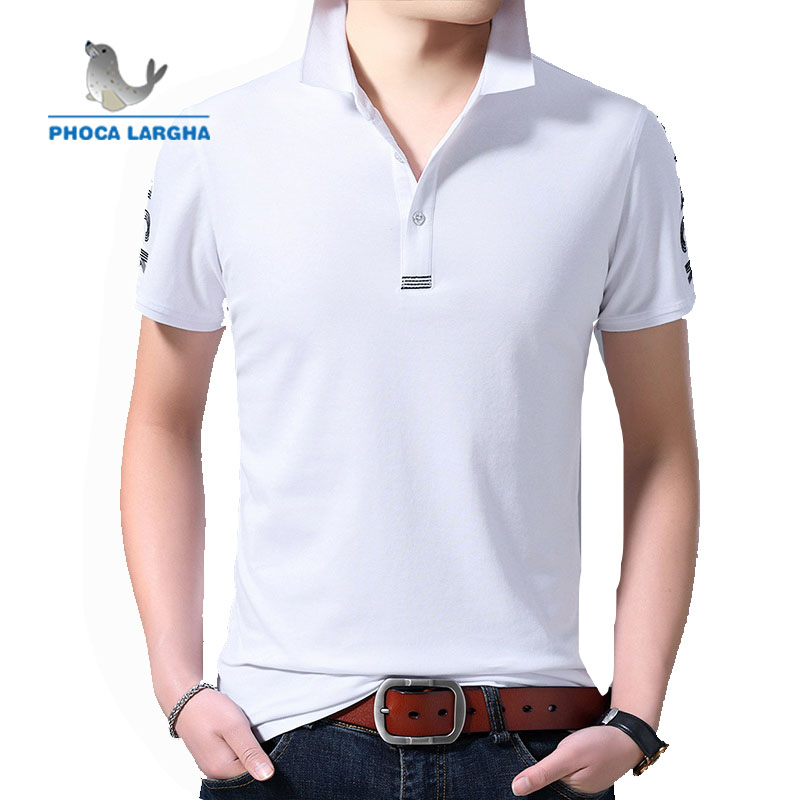 2019 Short Slim Striped Polo Shirt Men's Summer Cotton Lapel Breathable Embroidered Print Business Casual Short Sleeve Men