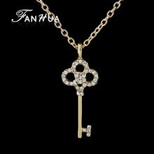 FANHUA Gold-Color Long Chain with Rhinestone Key Party Gift Pendant Necklace For Women Collane E Ciondoli