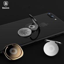 Baseus Luxury 360 Degree Metal Finger Ring Holder Smartphone Mobile Phone Finger Stand Holder For iPhone 6 7 8 plus X Tablet PC(China)