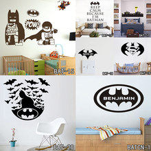 Batman Customized Name Wall Stickers Home Decor Bat Personalised Super Hero Vinyl Decal Mural Wallpaper Graphic for Boys Bedroom(China)