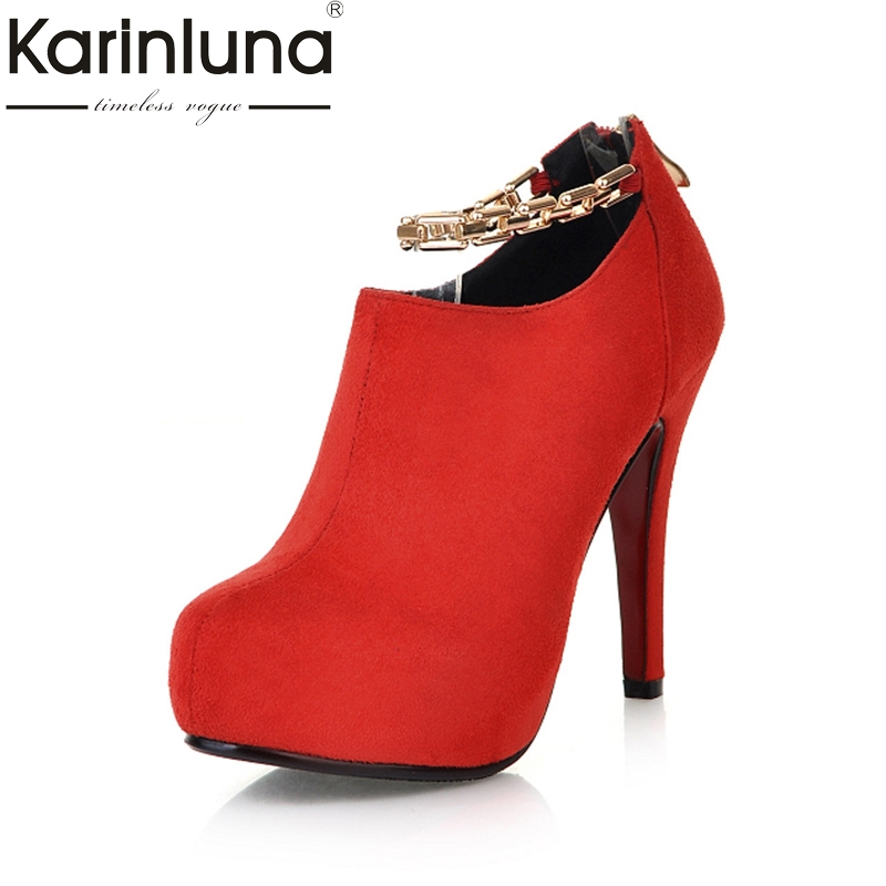 Karinluna New Top Quality Thin high-heeled Platform Ankle Chains Women Shoes Pumps Spring Flock Party Shoes Woman Footwear<br>