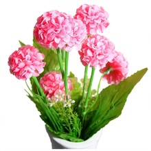 9 Heads 1 Bouquet Artificial Chrysanthemum Silk Flowers Floral Home Garden Decor Color:Pink