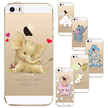 New Cute Cartoon Animal Elephant Case For Iphone 5 5S SE Transparent Silicone Phone Back Cover Coque Celular