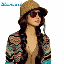 Womail 2017 Summer Autumn Fashion Womens Straw Hat Color Striped Beach Sun Hat Foldable Hat