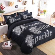 Queen king black duvet cover sets-smile printed quilt cover+soft bed sheet+bedding pillowcase,polyester bedding set/bed linens