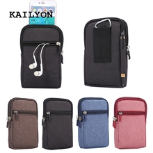 KAILYON for Highscreen Boost 3 SE Universal Denim Leather Waist Hook Loop Sport Mobile Phone Bags For Highscreen Power Five EVO(China)