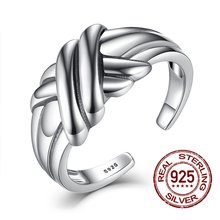 Adjustable Finger Ring Solid 925 Sterling Silver Weave Rings Smooth Shining Rings Open Design  Fashion Jewelry For Women