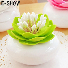 E-SHOW Exquisite Lotus Cotton Bud Holder Toothpick Cotton Swab holder Case organizer Container plastic Storage Box Home