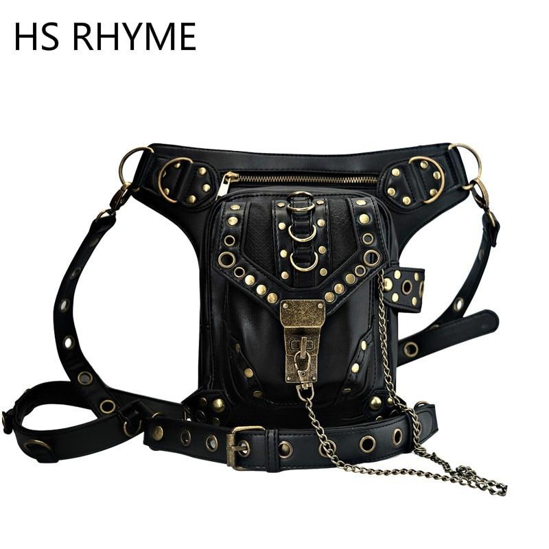 HS RHYME Steam Punk General Mobile Phone Bag Mini Leg Bag Travel Men Womens Handbag Retro Rock Gothic Leather Waist Mochilas<br><br>Aliexpress