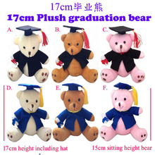 Free Shipping Plush 17cm Graduation Teddy Bear Gift ,6Colors, 6pcs/LOT(China)