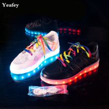 Yeafey Female Led Luminous Shoes Women Fashion Black Sneakers Krasovki White Color shoelaces Shoes Size 35-40 Glowing Sneakers(China)