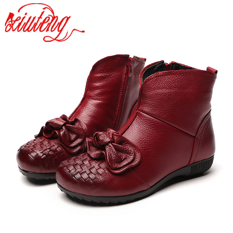 Xiuteng 2018 New Women Winter Boots Plush Keeps Warm  Genuine Leather Boots Bowknot Ankle Shoes Short Fur Boots Flats Woman<br>