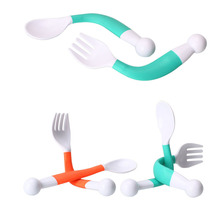 1 Set Safe PP Flexible Baby Spoon+ Fork Adjustable Handle Children Dishes Learning Kids Tableware 2 pcs/Set(China)