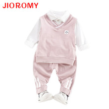 JIOROMY 2017 Spring Full  Boy Fashion Suits Long Sleeve T-shirt+Pants Sets of Children's Wear Turn-down Collar Kids Clothes Sets