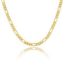 Gold color Men Necklace Jewelry Wholesale Stainless Steel 5 Sizes 5MM Trendy Long Figaro Chain Necklace(China)
