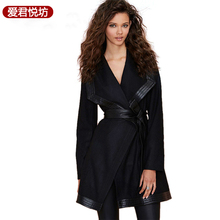 2017 Spring Autumn Winter New Fashion Trench Casual Elegant OL Black Pu Cape Trench OverCoat Outwear for Women 2XL