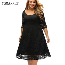 2017 Summer New Simple Midi Dress Black Fashion Sexy Hollow Out Causal Plus Size XXXL Loose Lace Dress For Women Outwear E61395(China)