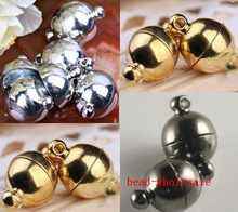 OMH wholesale Free Ship 6mm & 8mm for choose 10 Sets Silver  &  golden & Black Round Ball Magnetic Clasps Charms OMH34