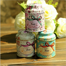 24pcs/lot Vintage style print flower series metal tea box Cute tin box Round home storage case Iron candy container Gift SN001(China)