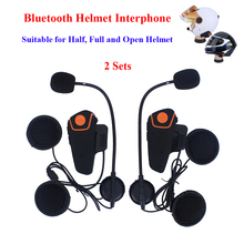 2 pcs Motorcycle Moto Wireless Bluetooth Helmet Intercom Interphone Comunication Headset with FM function BT-S2 Helmet Intercom(China)