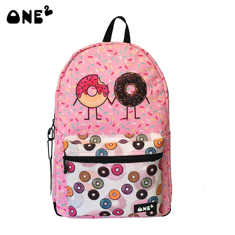 ONE2 Cute backpack for teenage girls with Donut design printing rucksack female backpackwomen mochila food school bag backpack<br>