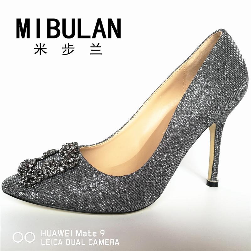 HTB1J4mdRVXXXXcxXFXXq6xXFXXX9 - Free Shipping classic silk stain diamond buckle wedding heels, female shining silk stian buckle big size party pumps, 33-43