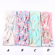4Pcs/Set Lovely Girls Turban Rabbit Ear Headband Flower Hair band BowKnot Headwrap New Hair Band Accessories Headwear(China)