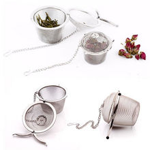 New Durable Silver Reusable Stainless Mesh Herbal Ball Tea Spice Strainer Teakettle Locking Tea Filter Infuser Spice 4 Sizes(China)