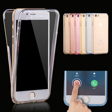 Anti-Knock Full Body Clear TPU Silicone Cover Case for iPhone 5 5s SE 6 7 8 6s X Case Luxury Brand Soft 360 Degree Protection(China)