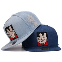 Jeans snapback embroidery victory fingers high quality denim women flat baseball caps hip hop hat and cap for men and women(China)