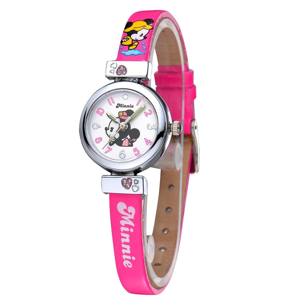 Disney brand children Quartz wristwatch Minnie Girl leather watch cartoon digital kids clocks waterproof relogio girls watches<br><br>Aliexpress