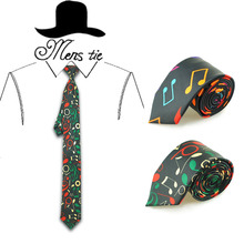 Fashion colorful music notes black 2 colors necktie Polyester Woven Classic Men's Party tie wedding ties Musical Gravatas(China)