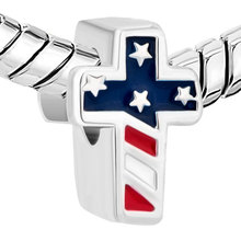free shipping 1pc enamel USA FLAG cross bead  Charm Fits European Pandora Charm Bracelets A074