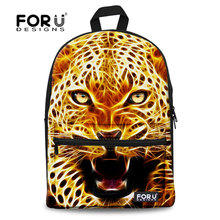 Mochila Feminina Zoo 3D Leopard Tiger Printed Canvas Backpack Animal Kids Boys School Backpack Cool Children Rucksack for Travel