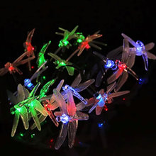 Dragonfly Solar Powered 20LED Fairy String Light Outdoor Xmas Party Garden Decor
