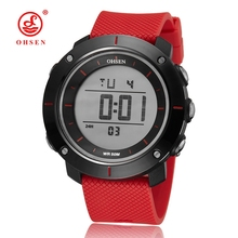 New OHSEN Brand Women Sport Watch Digital LED Ladies Fashion Wristwatches Passion Red Rubber Strap 50M Waterproof Unisex Watches