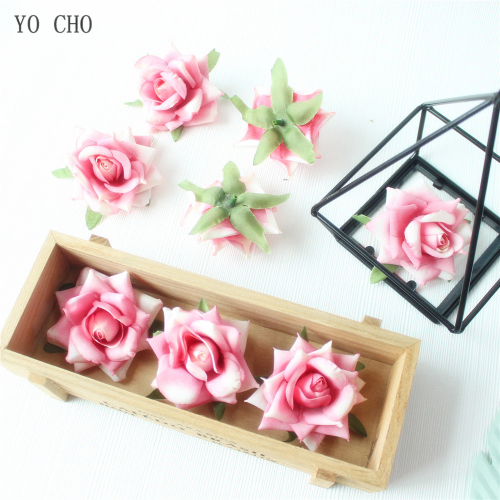 Rose Artificial Flower Head White Pink Silk Peony Wedding Party Decoration DIY Decorative Fake Flower  (31)