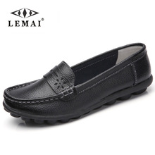 New Women Real Leather Shoes Moccasins Mother Loafers Soft Leisure Flats Female Driving Casual Footwear Size 35-44 In 4 Colors(China)