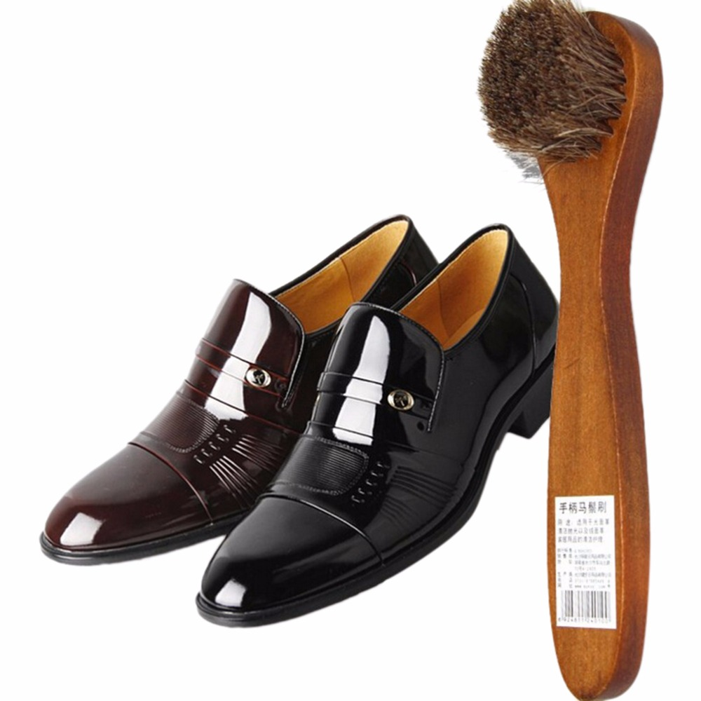 1Pcs Polish Buffing Brush Care Long Wood Handle Bristle Hair Shoes Brush Cleaner For Boot Wholesale brown(China (Mainland))