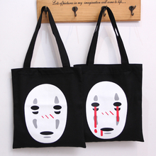 Free shipping Spirited Away Black No Face Canvas Hand Bag Female Women Portable Storage bags(China)