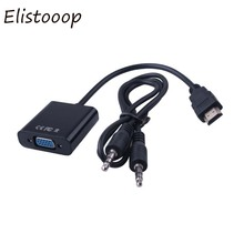 Elistooop Male HDMI to VGA Female Video adaptor HDTV CRT Monitor TV for XBOX 360 PS3 HDMI to VGA with 3.5mm plug Audio Cable(China)