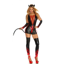 Buy New Sexy New Black Evil Costume Bandage Wetlook Demon Tail Horns Bodysuit Latex Sexy Devil Women Halloween Cosplay W84439