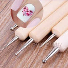 5Pcs 2 Way Wooden Dotting Pen Marbleizing Tool Nail Art Dot Doting Tools #14198
